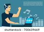 dj man on turntable playing dj... | Shutterstock .eps vector #700639669