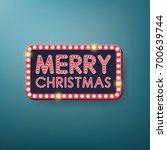 retro merry christmas light... | Shutterstock .eps vector #700639744