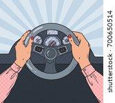 pop art woman hands on car...   Shutterstock .eps vector #700650514
