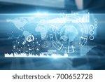 abstract digital blue business... | Shutterstock . vector #700652728