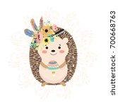 cartoon hedgehog with mushroom... | Shutterstock .eps vector #700668763