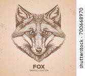 hipster animal fox. hand... | Shutterstock .eps vector #700668970