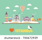 tourist poster with famous... | Shutterstock .eps vector #700672939