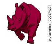vector art of a rhinoceros | Shutterstock .eps vector #700674274
