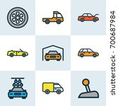 car colorful outline icons set. ... | Shutterstock .eps vector #700687984