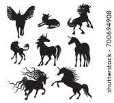 vector silhouette unicorns... | Shutterstock .eps vector #700694908