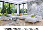 modern bright interiors. 3d... | Shutterstock . vector #700703026