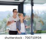 romantic happy young couple...   Shutterstock . vector #700710934