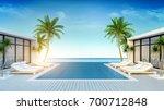 a modern villa  beach lounge ... | Shutterstock . vector #700712848