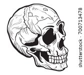 skull black and white cartoon... | Shutterstock .eps vector #700713478