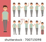 set of a guy in casual clothes... | Shutterstock .eps vector #700715098