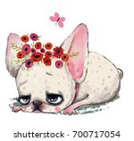cute cartoon dog with floral... | Shutterstock . vector #700717054