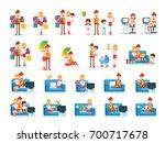 set of familiar people scenes... | Shutterstock .eps vector #700717678