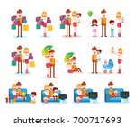 set of familiar people scenes... | Shutterstock .eps vector #700717693