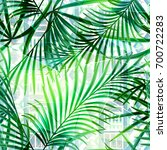 seamless tropical pattern .palm ... | Shutterstock . vector #700722283