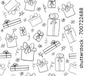 hand drawn sketch gift boxes.... | Shutterstock . vector #700722688
