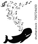 whale sings with music note | Shutterstock .eps vector #700724650