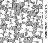 black and white flower pattern... | Shutterstock .eps vector #700730176