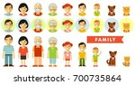 Stock vector set of seven family members in flat style happy family of seven people and two pets full length 700735864
