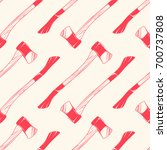 seamless pattern with axes... | Shutterstock .eps vector #700737808