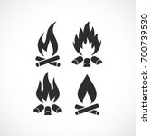 blazing fire flame vector icon... | Shutterstock .eps vector #700739530