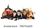 kids with face paint and... | Shutterstock . vector #700741603