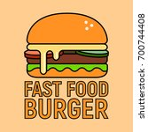 fast food burger icon | Shutterstock .eps vector #700744408