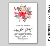 wedding invitation or card with ... | Shutterstock .eps vector #700748218