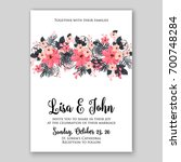wedding invitation or card with ...   Shutterstock .eps vector #700748284