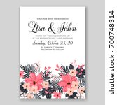 wedding invitation or card with ... | Shutterstock .eps vector #700748314