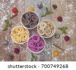 different ice cream rolls ...   Shutterstock . vector #700749268
