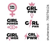 girl power icons collection.... | Shutterstock .eps vector #700756126