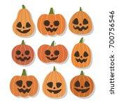 halloween pumpkins set. smiling ...   Shutterstock .eps vector #700756546