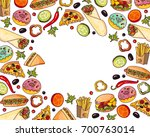 vector fast food template .... | Shutterstock .eps vector #700763014