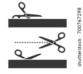 cutting scissors set with cut... | Shutterstock .eps vector #700767298