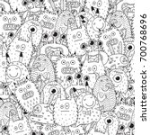 funny monsters seamless pattern ... | Shutterstock .eps vector #700768696