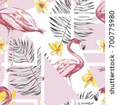 seamless pattern with tropical... | Shutterstock .eps vector #700775980