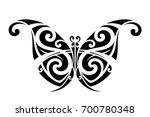 butterfly polynesian tattoo  | Shutterstock .eps vector #700780348