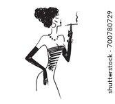 A Beautiful Girl Smokes. Vecto...
