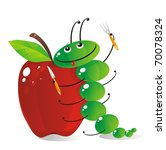 The amusing green caterpillar is going to have dinner the big red apple - stock vector