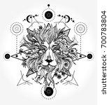 lion tattoo and t shirt design. ...   Shutterstock .eps vector #700783804