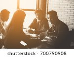 business team working on... | Shutterstock . vector #700790908