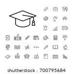 thin line graduation cap icon... | Shutterstock .eps vector #700795684