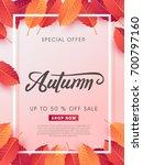 autumn sale background layout...   Shutterstock .eps vector #700797160