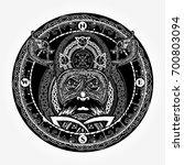 viking warrior head t shirt... | Shutterstock .eps vector #700803094