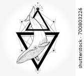 creative geometric whale tattoo ... | Shutterstock .eps vector #700803226