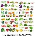 vegetable isolated on white... | Shutterstock . vector #700803730