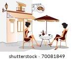 chatting girls drinking coffee | Shutterstock .eps vector #70081849