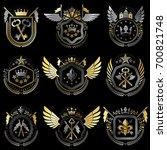 heraldic emblems with wings... | Shutterstock . vector #700821748