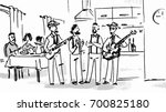 band playing the guitar in a... | Shutterstock .eps vector #700825180